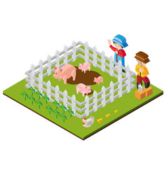 3d design for farmers and pigs in farm vector