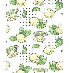 Tea with lemon nand-draw seamless pattern vector image
