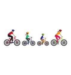 Father mother and kids biking vector