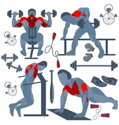 Sportsman pumping muscles fitness club vector