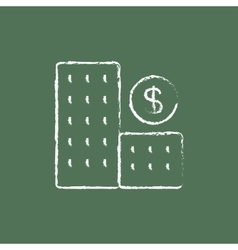 Condominium with dollar symbol icon drawn in chalk vector