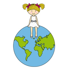 Girl sitting on the globe vector