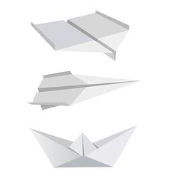 Origami aeroplanes boat vector