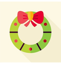 Flat Design Christmas Wreath Icon vector image