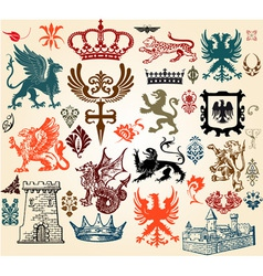 Vintage heraldry design elements vector