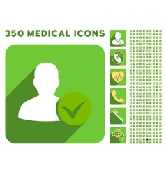 Patient ok icon and medical longshadow icon set vector
