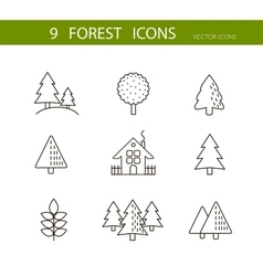 Forest icons set  trees icons vector