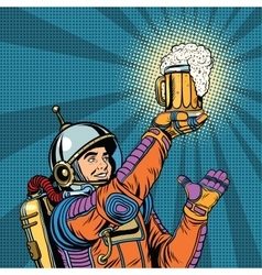 Retro astronaut and a mug of beer vector