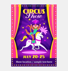 Circus show poster or flier with circus animals vector
