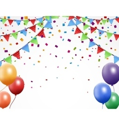 Birthday background with bunting and confetti vector image vector image