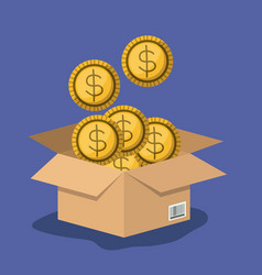 Cardboard box opened with many coins in purple vector