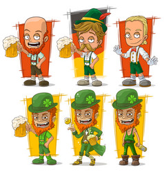 Cartoon bavarian with beer character set vector