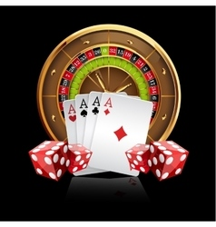 Casino Background with Roulette Wheel vector image