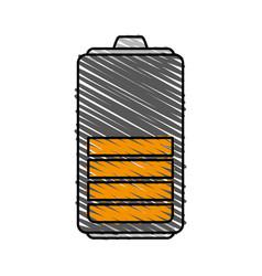 Color crayon stripe cartoon battery device with vector