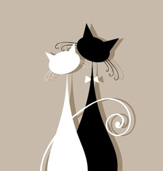 Couple cats together silhouette for your design vector