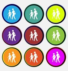 Crosswalk icon sign nine multi colored round vector