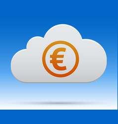 Euro money cloud with shadow on light background vector