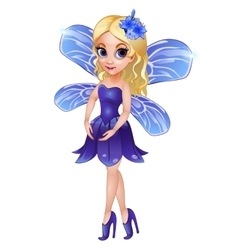 Fairy with wings in blue dress vector image vector image