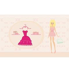 Fashion girl on shopping vector