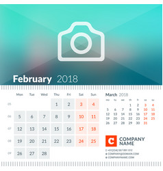 February 2018 calendar for 2018 year week starts vector