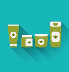 flat icons of cosmetics containers with long vector image vector image