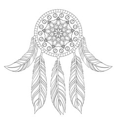 hand drawn of ethnic dream catcher vector image vector image