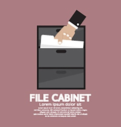 Hand picking a document from a file cabinet vector