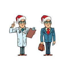 Happy christmas doctor and businessman vector