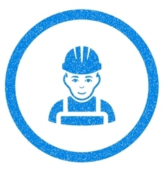 Happy mechanic rounded icon rubber stamp vector
