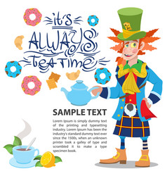 Hatter with a teapot to the fairy tale alices vector