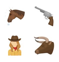 Head of a horse a bull s head a revolver a vector