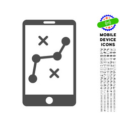mobile navigation route icon with set vector image