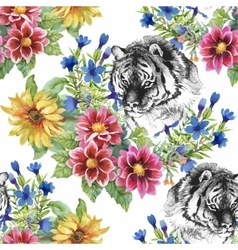 Seamless pattern with tigers yellow sunflowers vector