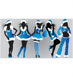 set of Christmas girls vector image vector image