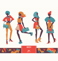 set of fashion girls with handbags color vector image vector image