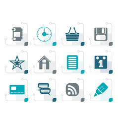 stylized internet and website icons vector image vector image