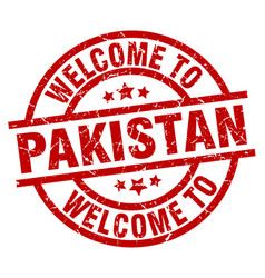 Welcome to pakistan red stamp vector
