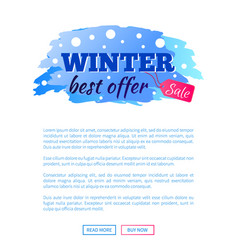 winter best offer sale promo web poster with text vector image vector image
