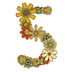 Hand drawn floral number 5 vector