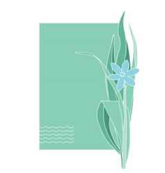 Greeting or post card with blue flower place text vector