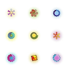 Download page icons set pop-art style vector