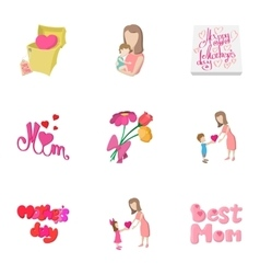 Celebration of mothers day icons set vector