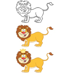 Happy lion character collection vector