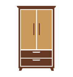 Brown wooden cartoon simple wardrobe isolated flat vector