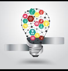 Creative light bulb idea with science icon vector image