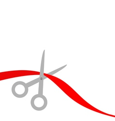 Scissors cut red ribbon on the left flat design vector