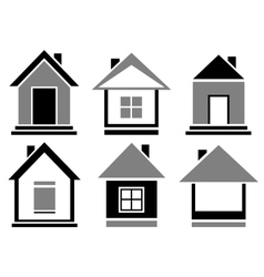 Set cottage icons vector