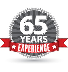 65 years experience retro label with red ribbon vector image vector image