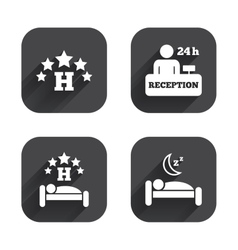 Five stars hotel icons travel rest place vector