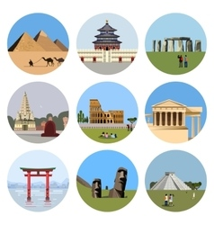 World landmarks flat icon set vector image